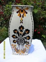 Antik extrém ritka 3 szög alakú Hollóházi váza népi szecessziós