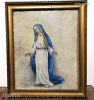 Antik olaj vászon festmény Szűz Mária AUKCIÓ!! (420)