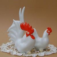 Orosz porcelán art deco kakas és tyúk figurák egyben