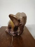 Komlósi kerámia, szerencse elefánt figura vagy könyv támasz. Kézzel festve színes máz. L- 15