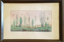 Gross Arnold -  Búcsú a nyártól 13 x 25 cm színezett rézkarc, korai