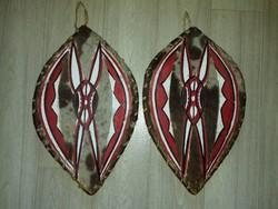 Native kézzel készült valódi szőr bőr és fa indián dísz pajzs fali dísz fél méteres