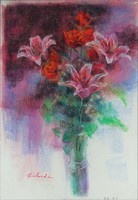 1A762 Japán festő XX. század : Virágcsokor