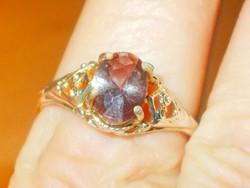 Ametiszt köves Arany - ezüst kéttónusú Tibeti Ezüst kézműves Gyűrű 9-es
