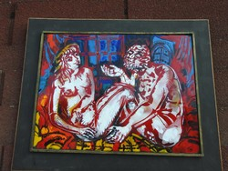Cs. Uhrin Tibor : Vallomás - tűzzománc falikép