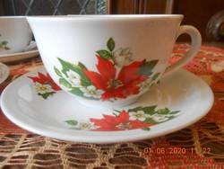 Zsolnay porcelán Mikulásvirág mintás teás csészék 6 db