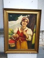 Csalány Béla, festmény. Nagybánya szép szines festmény. Hölgy kosárral, szépen megfestett festmény!