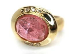 Rózsa Turmalin gyémántokkal arany gyűrű