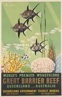 Trópusi halak, tenger, akvárium, Ausztrália, Nagy Korallzátony 1930 Vintage/antik plakát reprint