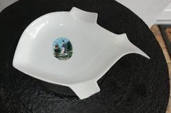 Békéscsaba mintás ritka Hollóházi porcelán hal formájú, halas hamutartó, Gyűjtői darab