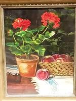 Novák Erzsi festmény, csendélet muskátlival és őszibarackkal, kitűnő állapotban.