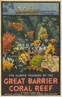 Horgászat, csónak, akvárium, Ausztrália, Nagy Korallzátony 1933 Vintage/antik plakát reprint