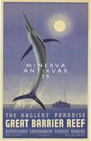Horgászat, csónak, kardhal, tenger, Ausztrália, Nagy Korallzátony 1936 Vintage/antik plakát reprint