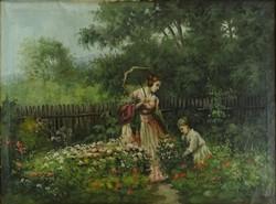 1A775 Magyar festő XX. század : Kertben