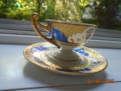 1930 Újszerű(!) Empire aranybrokát királykékkel,virágvázamintás talpas kávés csésze Royal EPIAG