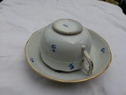 Herendi teás csésze aljával, kék virággal. Virággal kávés antik pecsét! Párját is a termékeim közt!