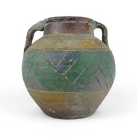 1A675 Régi festett kőcserép váza 16 cm