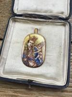 Régi kézzel festett tűzzománc Ikon miniatúra medál