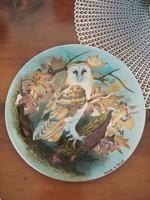 Bagoly mintás porcelán dísztányér