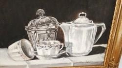 Asztali CSENDÉLET, fekete-fehér, szignós