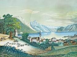 Osztrák festő, 19. század eleje: Gmunden látképe