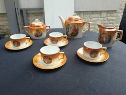 Zsolnay pajzs pecsét jelenetes teás készlet. Négy személyes!