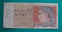 Csehszlovákia, 20 korun bankjegy - 1949
