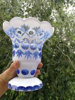 Antik többrétegű csiszolt, hántolt kínáló, váza! Néhéz, gyönyörű színes darab.