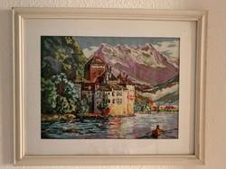 Svájci vár a genfi tó partján. Gobelin kép