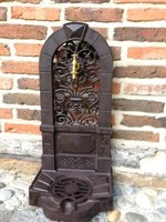 Baroque style - standing wall fountain - rustic brown color