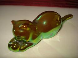 Zsolnay fényes, zöld eozin macska