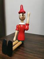Pinokkió fa bábu mozgatható nagy 30 cm magas