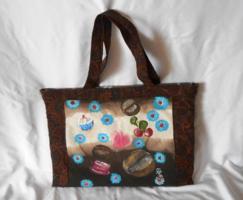 Kézzel festett kávés kézműves vászon táska