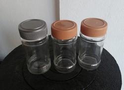 3 db csavaros kupakos üveg fűszertartók, fűszertartó, nosztalgia darab