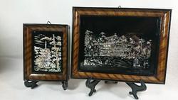 XX.szd első fele,keleti gyöngyház berakással készült képek,a hátoldalon lakk réteg papirral lezàrva