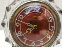 Art Deco asztali óra, bakelit talp, üveg keret az óra körül!