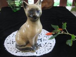 Sziámi porcelán cica  , szép kék szemekkel  , nem jelzett  10x 17 cm