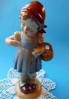 Bertram német porcelán kislány kosárkával 19 cm