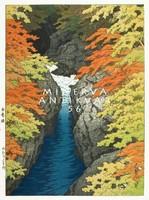 Régi japán fametszet -tájkép, színes őszi lomb, sziklák, patak 1942 Kitűnő minőségű reprint nyomat