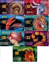 7 db telefonkártya - Horoszkóp 1995. - kos, bika, rák, oroszlán, szűz, skorpió, bak