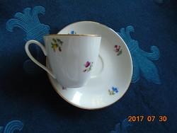 Antik Monarchiás EPIAG kézzel festett virágos mokkás csésze alátéttel