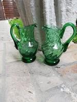 Zöld csavart díszes  üveg kiöntő pár