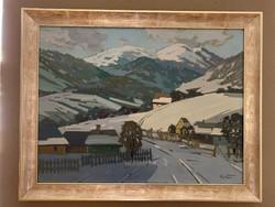 Márton Béla festmény, teli táj, új keretben