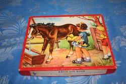 PUZZLE - Vintage scandinavian wooden puzzle Bjarn och djur régi svéd fa kirakó