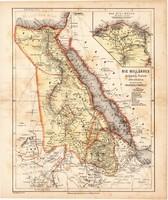 Nílus vidéke térkép 1871, lexikon melléklet, német nyelvű, eredeti, Egyiptom, Núbia, Afrika, 24 x 28