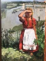 Leány a hídnál olaj festmény.