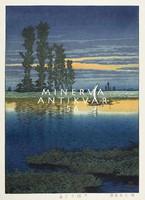 Régi japán fametszet - tájkép folyó vitorlás csónak naplemente 1930 Kitűnő minőségű reprint nyomat