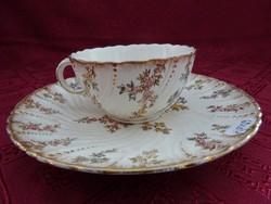 Antik francia porcelán teáscsésze + süteményes tányér.
