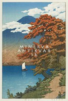 Régi japán fametszet - tájkép Fudzsi hegy tópart őszi fák csónak 1930 Kitűnő minőségű reprint nyomat