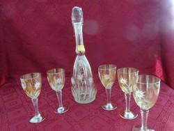 Antik borosüveg öt pohárral, kézzel festett - lüsztermázas, havasi gyopár minta.